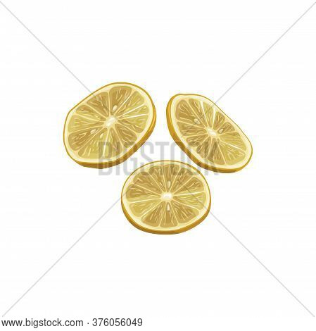 Lemon Dried Fruits, Dry Food Snacks And Fruit Sweets, Vector Isolated Icon. Dried Lemon Slices, Culi