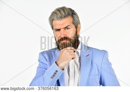Standout Business Professional. Man With Stylish Hairdo. Professional Businessman Isolated On White.