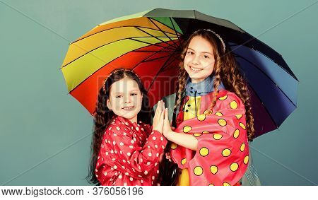 Happy Childhood. Bright Umbrella. It Is Easier To Be Happy Together. Be Rainbow In Someones Cloud. W