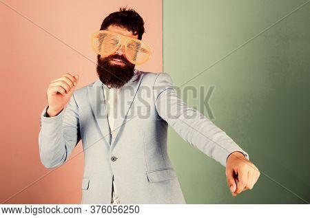 Diving Into Celebration. Man With Long Beard Formal Wear. Playful Businessman Celebrating. Bearded M