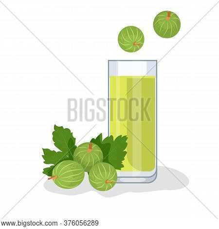 Gooseberry Juice In A Glass Cup, Next To The Gooseberry Berries. White Background, Isolate. Vector I