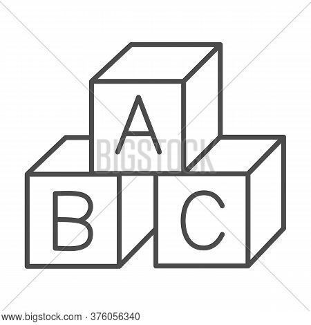 Children Cubes Thin Line Icon, Education Concept, Toy Cubes With Letters Sign On White Background, A