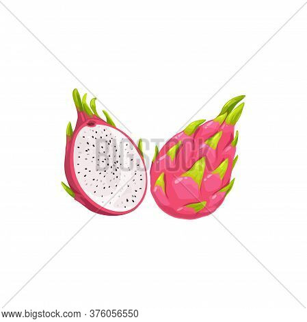 Pitaya Fruit Or Pitahaya, Tropical Exotic Food Vector Isolated Icon. Pitaya Dragon Fruit Half Cut An