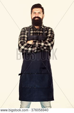 Keeping His Arms Crossed With Confidence. Master Chef Isolated On White. Chef With Long Beard Wearin