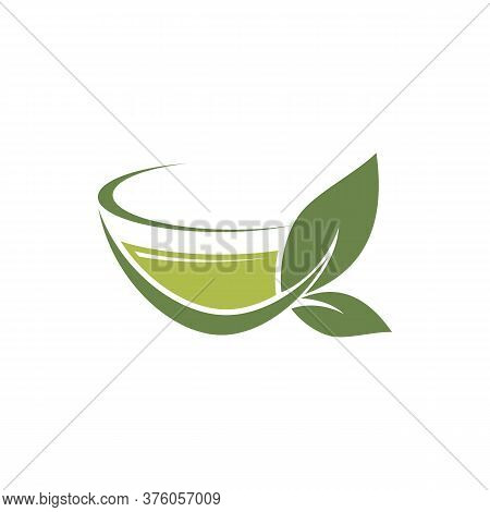 Hot Ceylon Or Chinese Green Tea In Cup Isolated Logo. Vector Herbal Drink With Organic Leaves