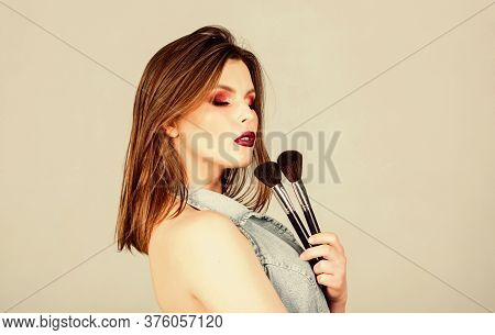 Sexy Woman With Professional Make Up Brush. Sexuality. Skincare Cosmetics. Beauty Hairdresser Salon.
