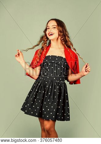 Retro Kid. Rise Of Vintage Fashion. Little Girl Vintage Style Outfit. Popularity Of Vintage Has Also