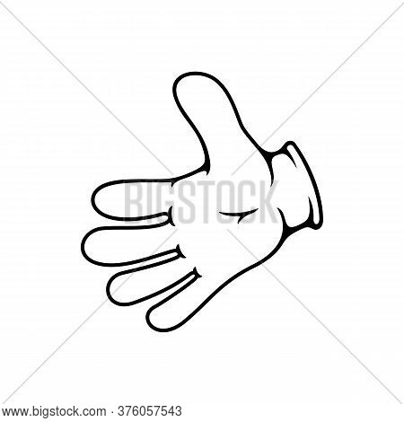 Hand Stretched To Greet Somebody Isolated Gesture. Vector Palm Cooperation Symbol, Nonverbal Greetin
