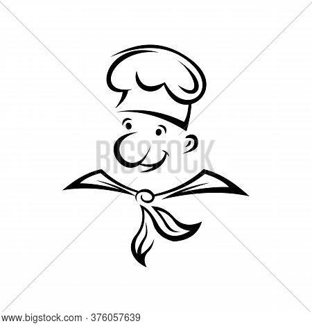 Chef Cook With Moustache Isolated. Vector Male Portrait, Professional Baker Or Waiter In Toque Hat