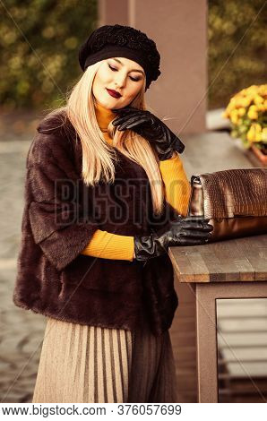 Benefits To Wearing Fur. Elegant Woman Wear Fur Coat. Beauty And Fashion. Autumn And Winter Style. I
