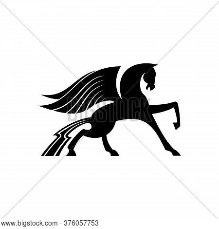Mythical Pegasus Isolated Winged Horse. Vector Heraldic Animal, Heraldry Emblem, Flying Stallion