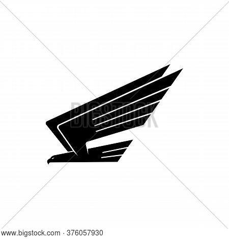 Black Bird In Flight Isolated Heraldry Symbol. Vector Flying Hawk, Falcon Or Eagle