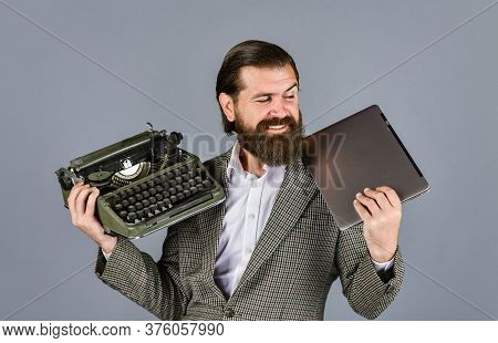 Happy Smile. Successful Businessman Use Retro Typewriter And Computer. Mature Man Hold Vintage Devic