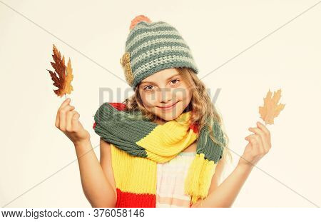 Warm Woolen Accessories. Hat And Scarf Keep Warm. Fall Fashion Concept. Kid Wear Warm Knitted Hat An