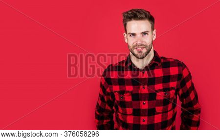 Male Hairdresser And Barbershop. Male Beauty Trend. Bearded Man With Sexy Bristle. Facial Hair Skin