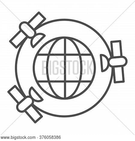 Planet With Gps Satellites Thin Line Icon, Navigation Concept, Three Satellites Orbiting Earth Sign