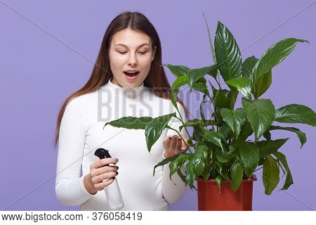 Young Woman Sprays Plants In Flowerpots And Looking At Potted Flower With Widely Opened Mouth And As