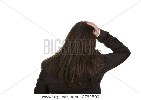 Businesswoman With Hand On The Head