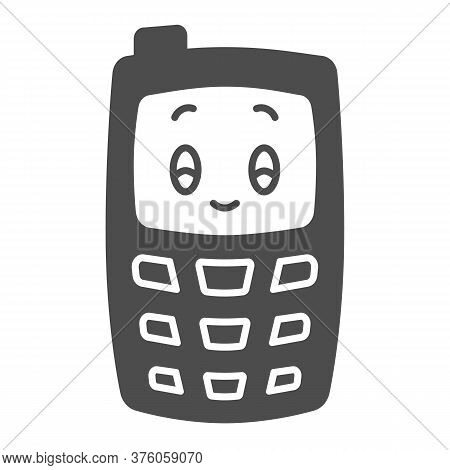 Children Mobile Phone Solid Icon, Kids Toys Concept, Children Walkie-talkie Or Cell Phone Sign On Wh