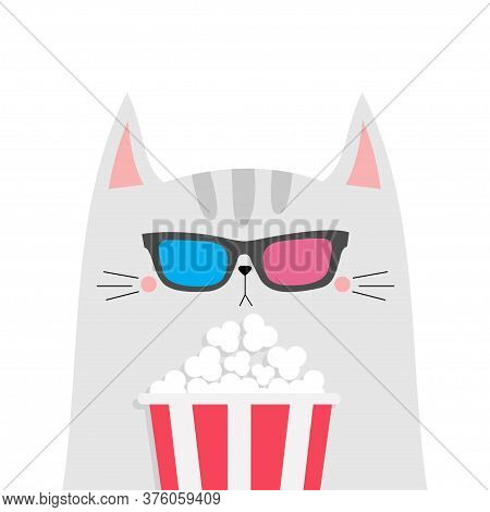 Cat And Popcorn. Cinema Theater. Cute Cartoon Funny Character. Film Show. Kitten Watching Movie In 3