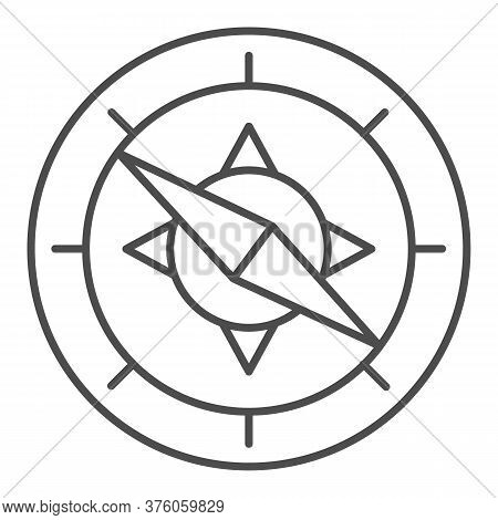 Compass Thin Line Icon, Navigation Concept, Navigator On White Background, Wind Rose Compass Icon In