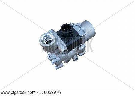 Abs Modulator Of The Brake System With A Magnetic Valve For A Truck Isolated On White Background. Sp