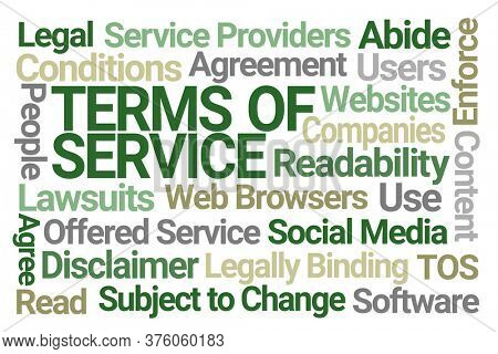 Terms of Service Word Cloud on White Background
