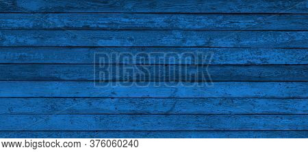 Texture Of Classic Blue Wooden Boards. Grunge Background Old Wood. Classic Blue Color Wood Surface W