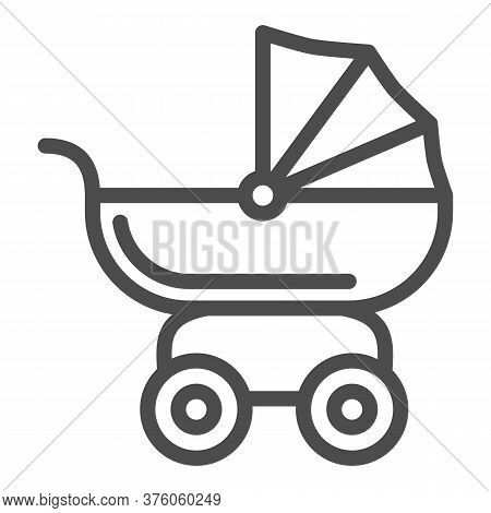 Pram For Dolls Line Icon, Kids Toys Concept, Toy Baby Carriage Sign On White Background, Baby Doll S