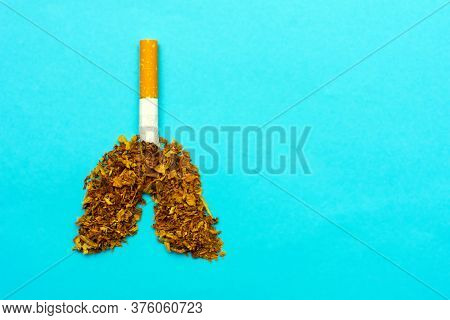 World No Tobacco Day. Concept Of Healthy Lifestyles Without Cigarettes On The Blue Background. Lungs