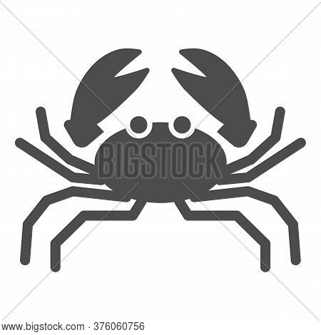 Crab Solid Icon, Marine Life Concept, Marine Seafood Sign On White Background, Crab Silhouette Icon