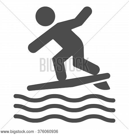 Surfing Solid Icon, Summer Water Sport Concept, Surfer And Waves Sign On White Background, Man Surfi