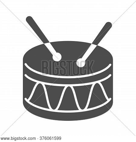 Drum Solid Icon, Kids Toys Concept, Drum Toy Sign On White Background, Snare Drum Icon In Glyph Styl