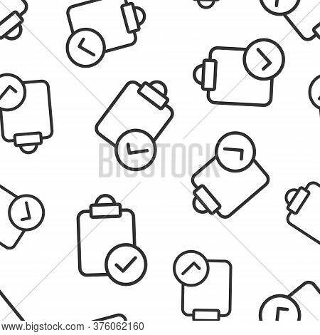 Document Checkbox Icon In Flat Style. Test Vector Illustration On White Isolated Background. Contrac