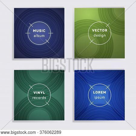 Modern Vinyl Records Music Album Covers Set. Semicircle Curve Lines Patterns. Tech Creative Vinyl Mu