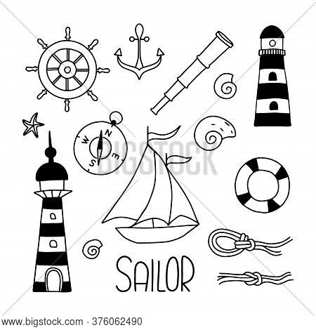 Sailor Icons With Lettering. Hand Draw Vector Line Illustration. The Set Consists Of Lighthouses, Na