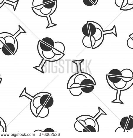 Ice Cream Icon In Flat Style. Sundae Vector Illustration On White Isolated Background. Sorbet Desser