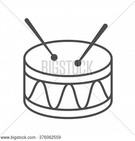 Drum Thin Line Icon, Kids Toys Concept, Drum Toy Sign On White Background, Snare Drum Icon In Outlin
