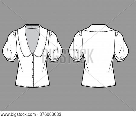 Blouse Technical Fashion Illustration With Collar Framing V Neck, Oversized Medium Puffed Sleeves An