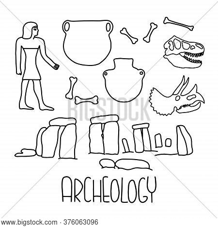 Archeology Icons With Lettering. Hand Draw Vector Line Illustration. The Set Consists Of Dinosaur Bo