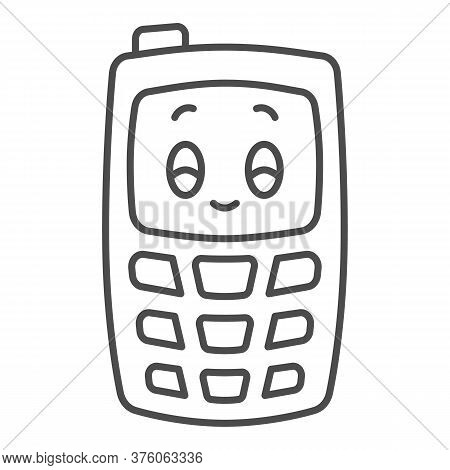 Children Mobile Phone Thin Line Icon, Kids Toys Concept, Children Walkie-talkie Or Cell Phone Sign O