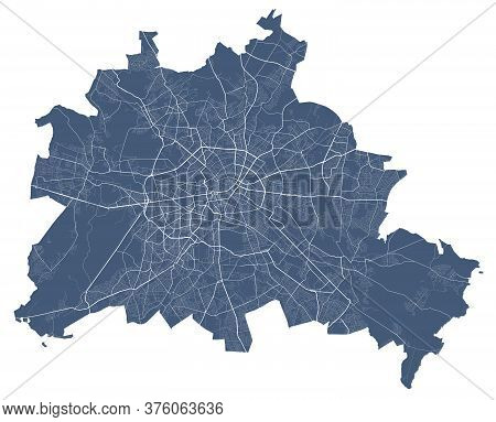 Berlin Map. Detailed Vector Map Of Berlin City Administrative Area. Dark Poster With Streets On Whit