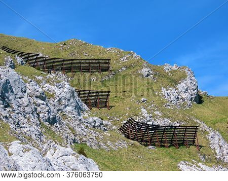 Metal And Wooden Structures For Protection Against Avalanches On Mount Matthorn In The Pilatus Mount