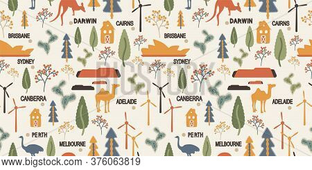 Background With Wind Farm, Canberra, Sydney Opera House, Kangaroo, Ostrich, Camel, Desert And Cactus