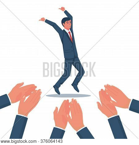 Applause To A Successful Businessman. Happy Businessman Rejoices In High Achievements. Vector Flat D