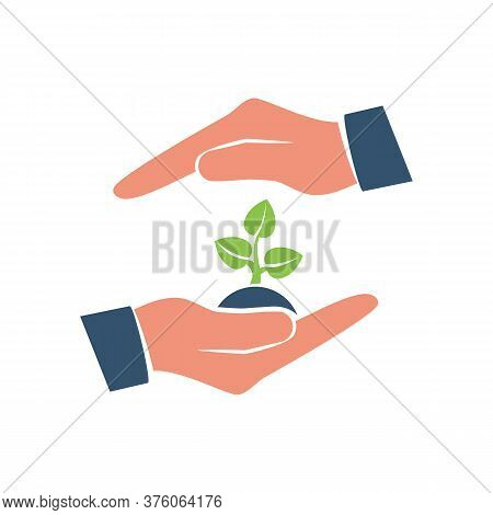 Environmental Protection Color Logo. Hands Holding Tree. Ecology Concept. Protection Ecology. Vector