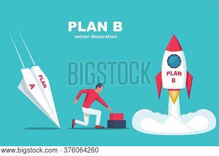 Launch Of Plan B. Business Metaphor. Plan A And Plan B. Vector Illustration Flat Design. Success Sol