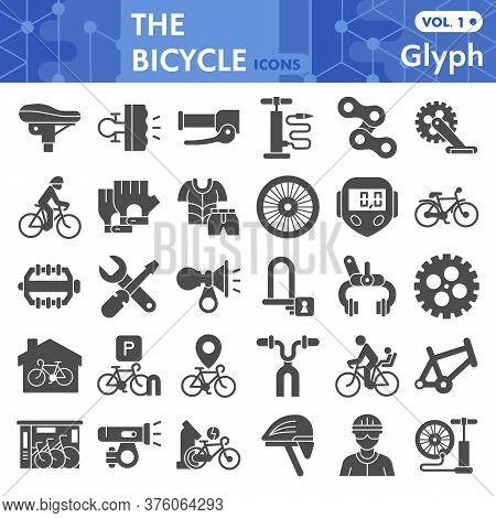 Bicycle Solid Icon Set, Bike Symbols Collection Or Sketches. Bicycle Parts And Accessories Glyph Sty