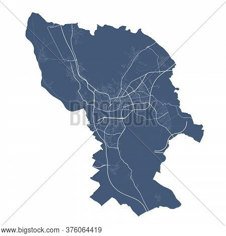 Bratislava Map. Detailed Vector Map Of Bratislava City Administrative Area. Dark Poster With Streets