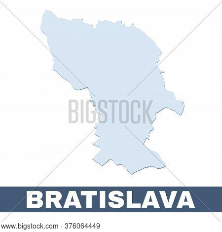 Bratislava Outline Map. Vector Map Of Bratislava City Area Within Its Borders. Grey With Shadow On W